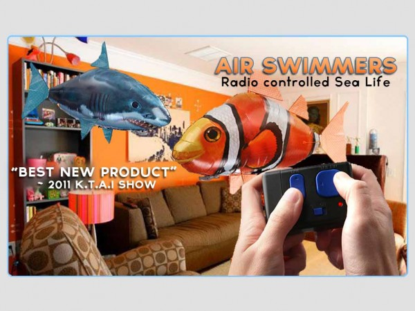Air Sharks?!?!  Air Swimmers Flying Radio Controlled Sea Life!