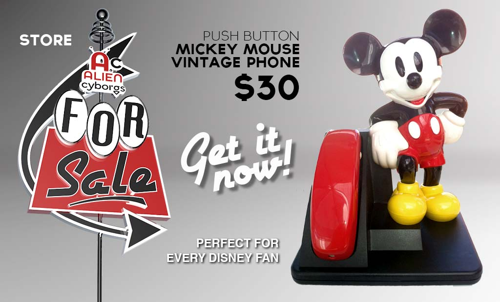 FOR SALE: Vintage AT&T Push Button Mickey Mouse Phone